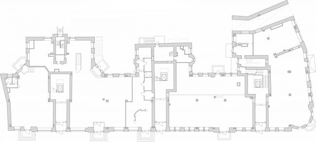 Реставрация доходного дома Тюляевой архитектора Розенкапфа. План 1 этажа © Гинзбург Архитектс