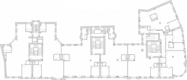Реставрация доходного дома Тюляевой архитектора Розенкапфа. План типового этажа © Гинзбург Архитектс