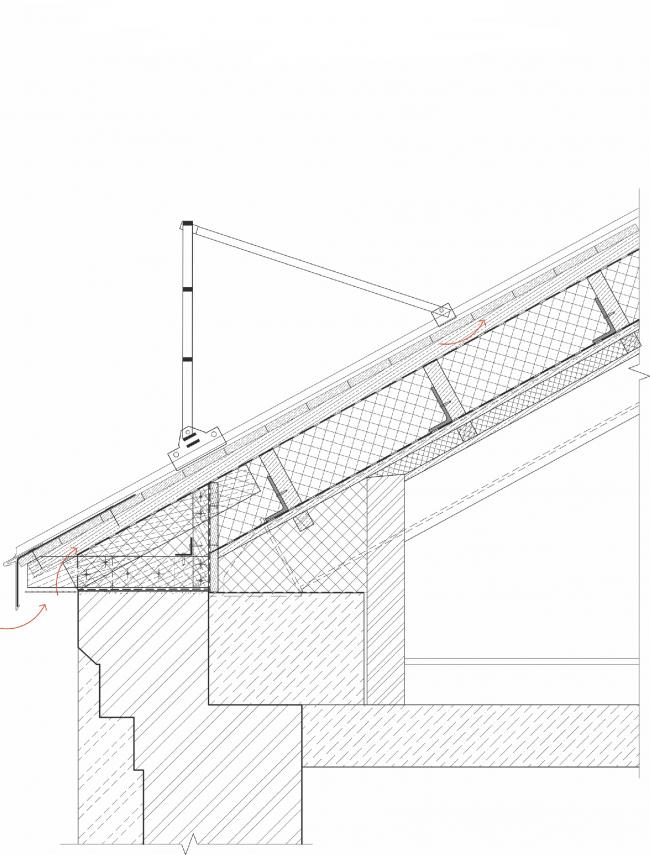 Реставрация доходного дома Тюляевой архитектора Розенкапфа. Узел, свес кровли © Гинзбург Архитектс