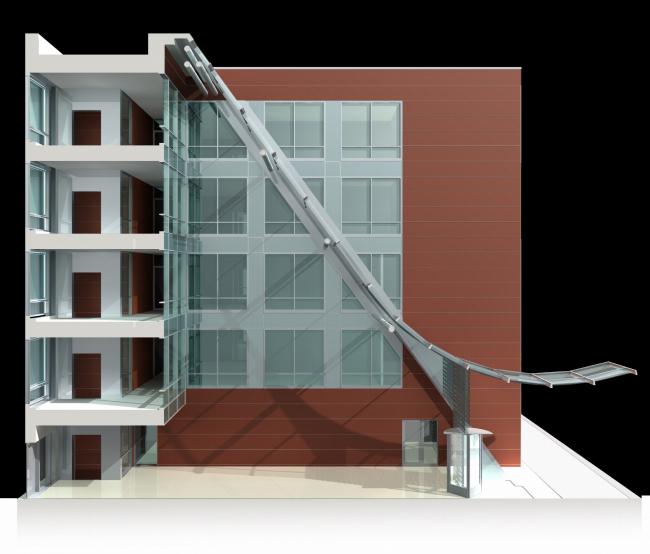 Жилой комплекс и офис на Пречистенской набережной. Офисная часть (корпус 2). Макет. Проект, 2005 © Остоженка
