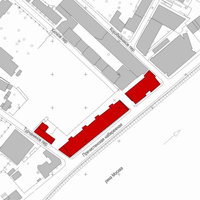 Жилой комплекс и офисное здание на Пречистенской набережной. Ситуационный план © Остоженка