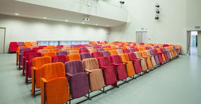 Универсальный актовый зал с профессиональной сценой Постройка, 2014 © Архиматика