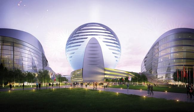Выставочный комплекс «Астана EXPO-2017». Павильон, вид ночью