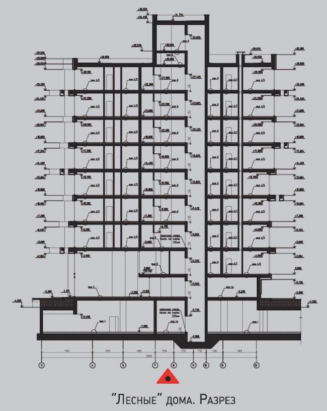Жилой комплекс «Олимпийская деревня Новогорск. Квартиры».  «Лесные» дома. Разрез © Архитектуриум