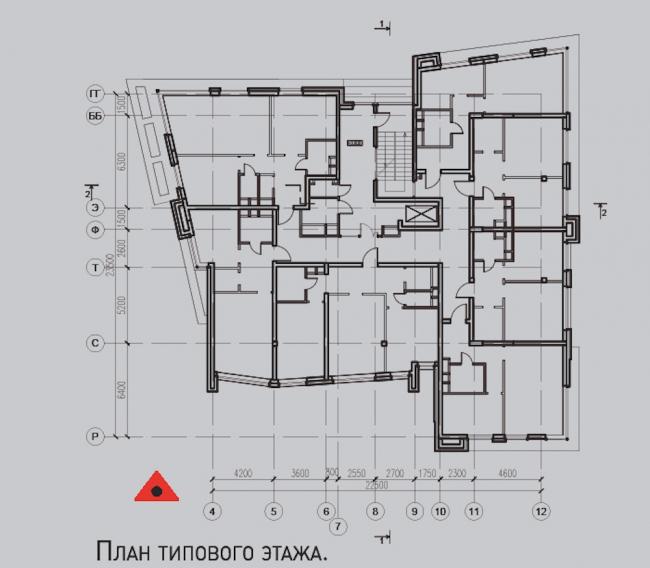 Жилой комплекс «Олимпийская деревня Новогорск. Квартиры». «Лесные» дома. План типового этажа © Архитектуриум