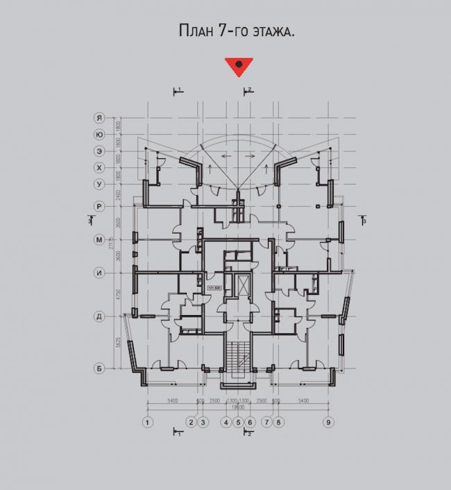 Жилой комплекс «Олимпийская деревня Новогорск. Квартиры». Дом «Речные». План 7 этажа © Архитектуриум
