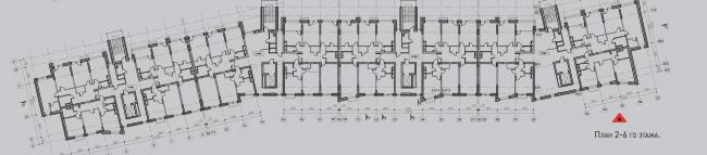 Жилой комплекс «Олимпийская деревня Новогорск. Квартиры». Дом «Гольф». План 2-6 этажей © Архитектуриум