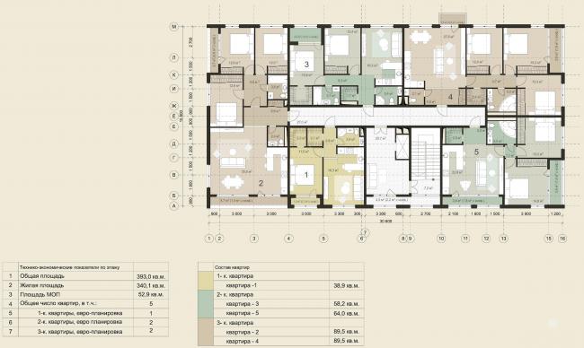 Жилая застройка в городе Пушкин. План типового этажа (отдельностоящая жилая секция). Проект, 2016 © Архстройдизайн