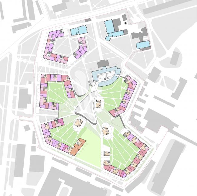 Жилой комплекс «Серебряный фонтан». План 1 этажей. Проект, 2016 © Атриум