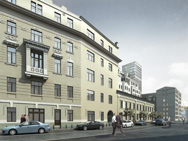 Реставрация доходного дома Тюляевой архитектора Розенкапфа. Проект, 2015 © Гинзбург Архитектс