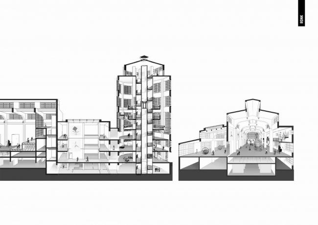 Проект редевелопмента Трехгорной мануфактуры. Реконструкция залов ТЭЦ-7 © АБ «Рождественка»