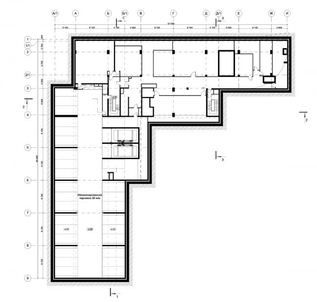 Деловой центр на улице Красина. План -1 этажа © ТПО «Резерв»