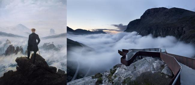 Слева: К.Д. Фридрих. «Странник над морем тумана». 1818. Справа: панорамная платформа над дорогой Тролльстиген © Reiulf Ramstad arkitekter