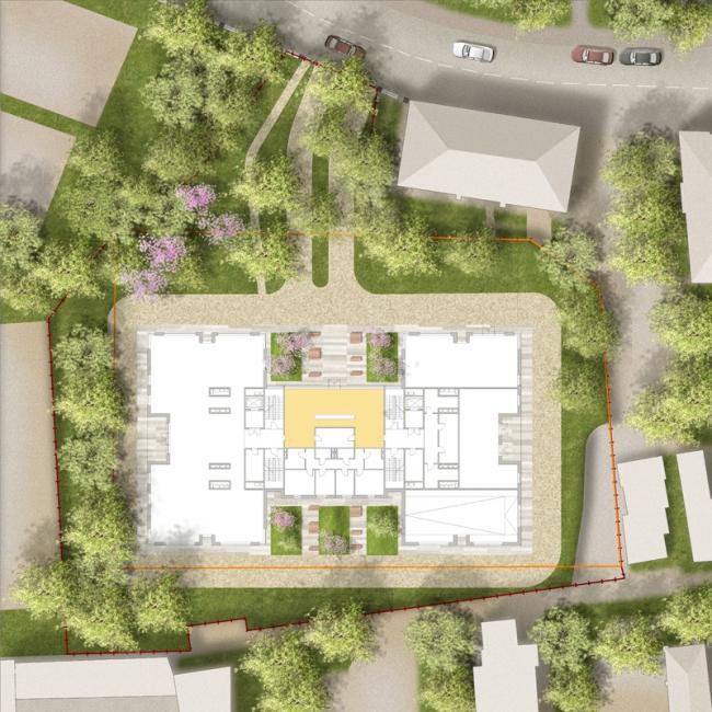 Клубный дом в Гороховском переулке. Генеральный план благоустройства © ADM architects