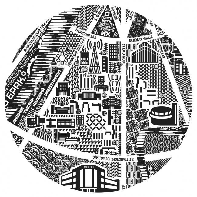 Карта «Новая Москва». Изображение предоставлено дизайн-студией Baklažanas