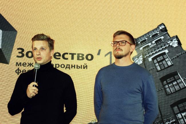 Михаил Бейлин, Даниил Никишин, кураторы экспозиции «Развязка Москвы». Фотография © Алла Павликова