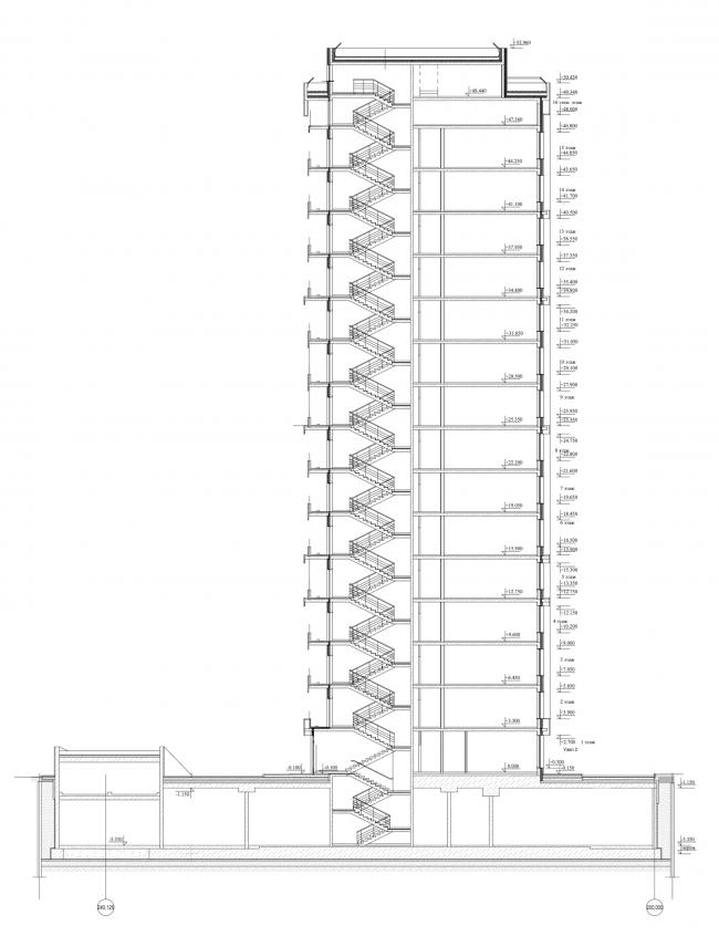 Жилой дом на Борисовской улице. Разрез © Архитектурное бюро Асадова