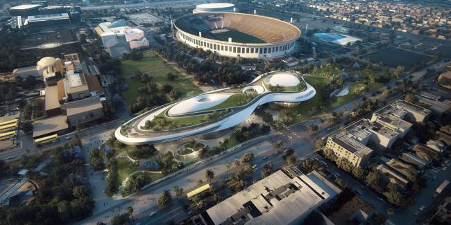 Музей нарративного искусства Джорджа Лукаса в Выставочном парке Лос-Анджелеса. Визуализация предоставлена Lucas Museum of Narrative Arts