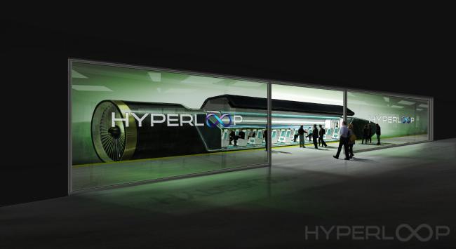 Дизайн поезда Hyperloop One. Изображение с сайта hyperloop-one.com