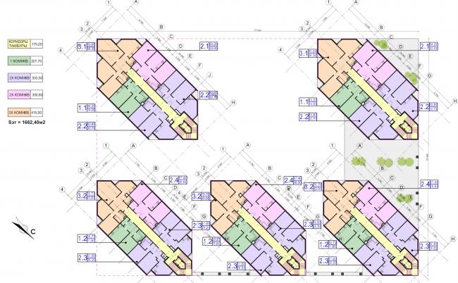 Концепция застройки участка в Москве. План 2 этажа. Проект, 2016 © Архитектурная мастерская Сергея Эстрина