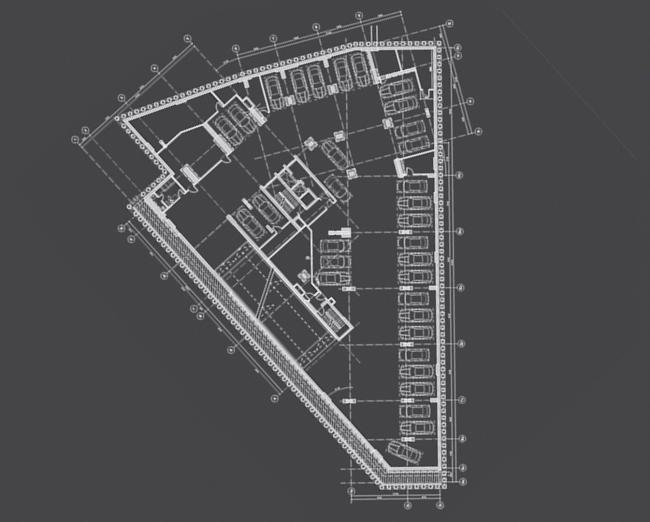Многоквартирный жилой дом на ул. Орджоникидзе. План -1 этажа. Проект, 2016 © Сити-Арх