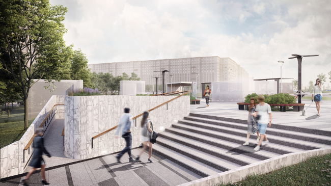 Концепция благоустройства прилегающей территории к станции метро «Парк Победы». Проект, 2016 © T+T Architects