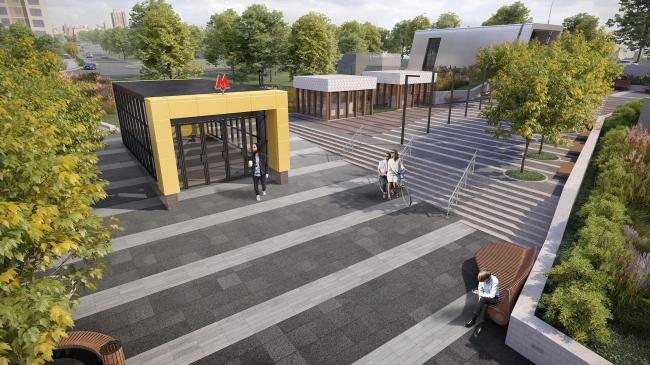 Концепция благоустройства прилегающей территории к станции метро «Шелепиха». Проект, 2016 © T+T Architects