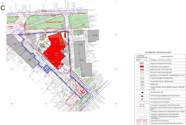 Многоквартирный жилой дом на ул. Орджоникидзе. Генеральный план. Проект, 2015 (первый вариант) © Сити-Арх