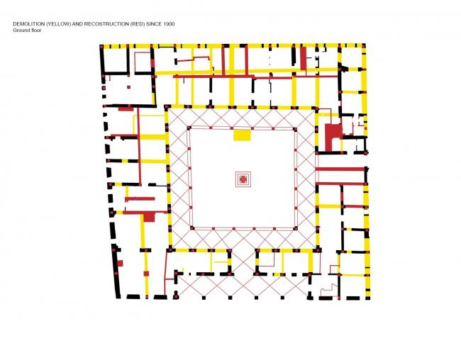 Комплекс Фондако деи Тедески – реконструкция. План 1-го этажа. Снесенные с 1900 до начала реконструкции стены помечены желтым, возведенные за тот же период – красным © OMA