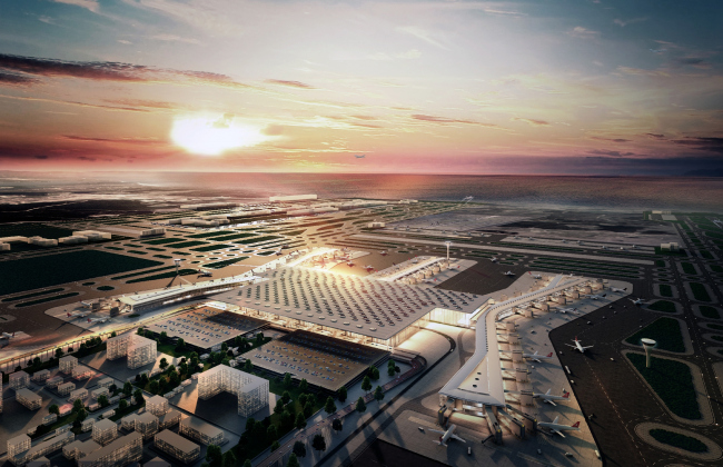 Новый аэропорт Стамбула (Турция).  Scott Brownrigg, Grimshaw, Nordic, Haptic. Изображение предоставлено WAF