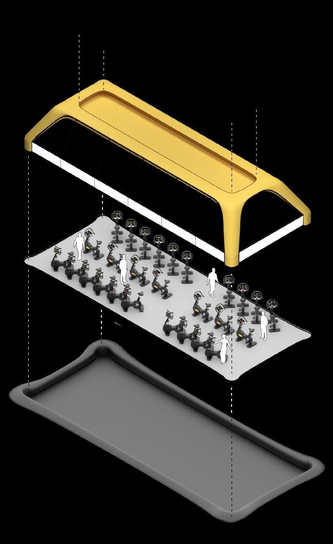 Проект плавучего тренажёрного зала. Изображение предоставлено студией Carlo Ratti Associati