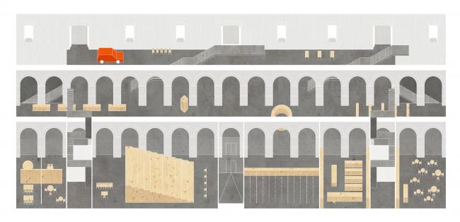 Проект реставрации Музея Москвы в Провиантских складах на Зубовском бульваре © Евгений Асс