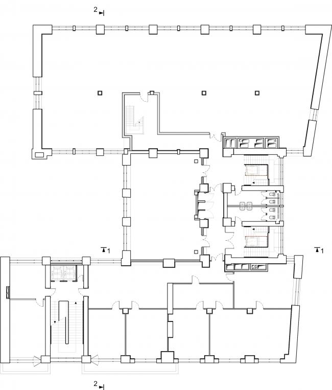 Реставрация здания газеты «Известия». План 6 этажа. 2016 © Гинзбург Архитектс