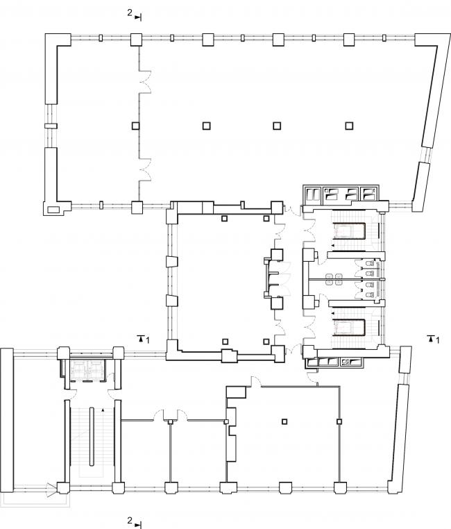 Реставрация здания газеты «Известия». План 4 этажа. 2016 © Гинзбург Архитектс