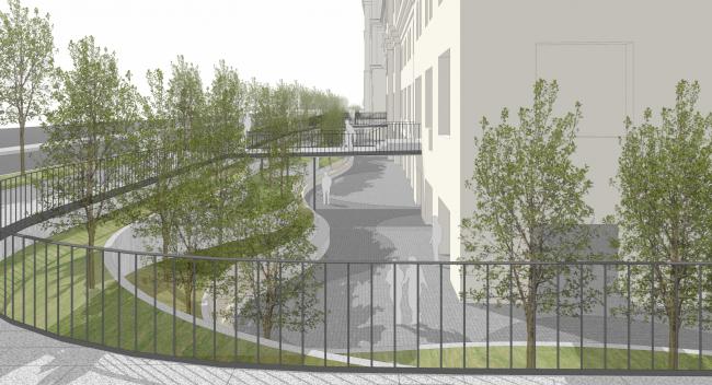 «Музейный парк». Благоустройство пешеходной зоны и территории, прилегающей к Политехническому музею. Проект, 2016 © Wowhaus