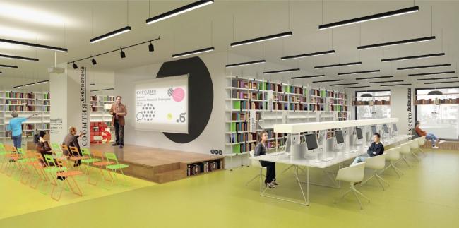 Концепция модернизации библиотек Московской области. Praktika + Groza (Москва). Изображение предоставлено пресс-службой Главархитектуры МО