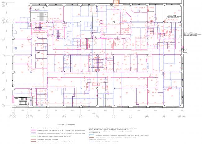 Реконструкция кондитерско-булочного комбината «Простор». План переустройства помещений 3 этажа. Проект, 2015 © Архстройдизайн