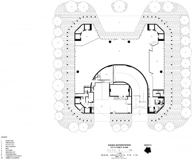 Башня Oasia Hotel Downtown. План 1 этажа © WOHA