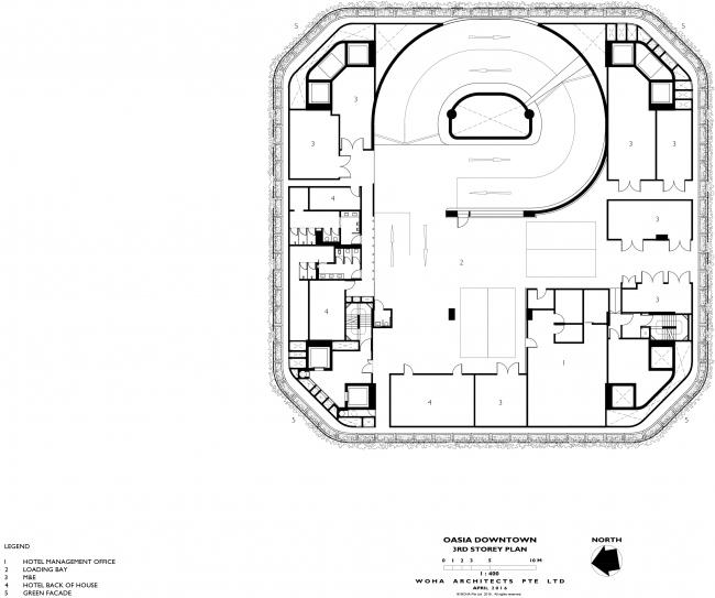 Башня Oasia Hotel Downtown. План 3 этажа © WOHA