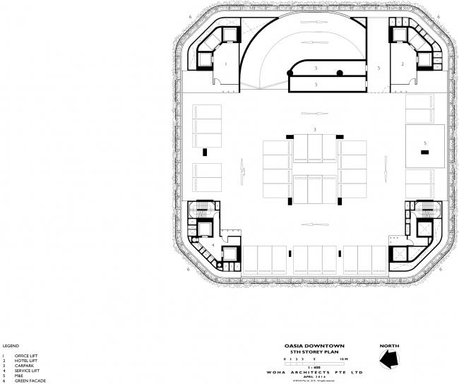 Башня Oasia Hotel Downtown. План 5 этажа © WOHA