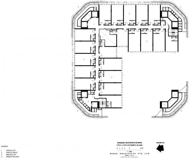 Башня Oasia Hotel Downtown. План 7-11 этажей © WOHA