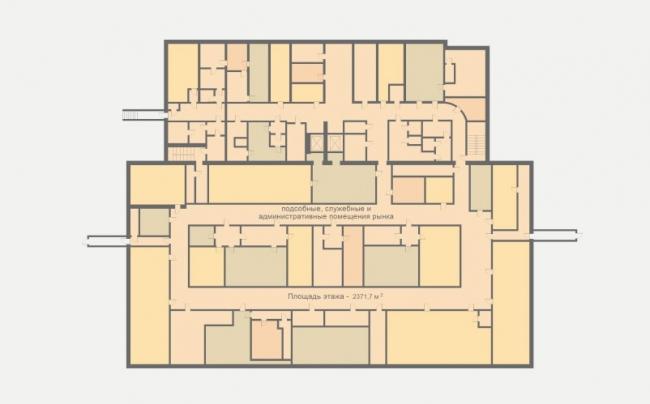 Концепция реконструкции рынка на площади Единства и Согласия в Тюмени. План подвала © Архстройдизайн АСД
