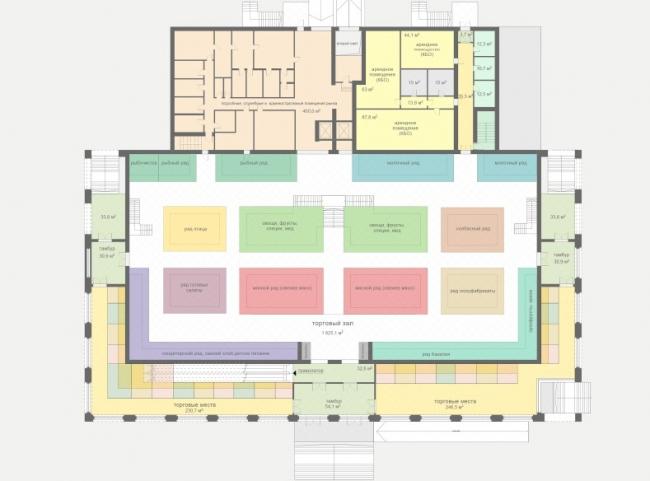 Концепция реконструкции рынка на площади Единства и Согласия в Тюмени. План первого этажа © Архстройдизайн АСД