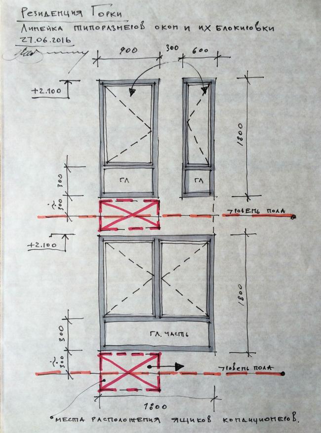 Резиденция Горки. Эскиз. Схема поэтажной блокировки окон © sp architects