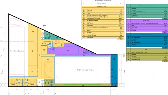 Спортивно-оздоровительный комплекс в Химках. План 2 этажа. Проект, 2016 © Архитектуриум