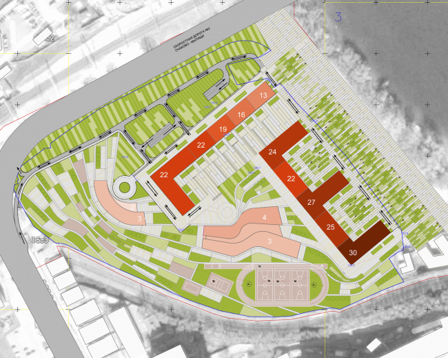 Многофункциональный жилой комплекс на территории завода «Филикровля». Генеральный план. Проект, 2015 © SPEECH
