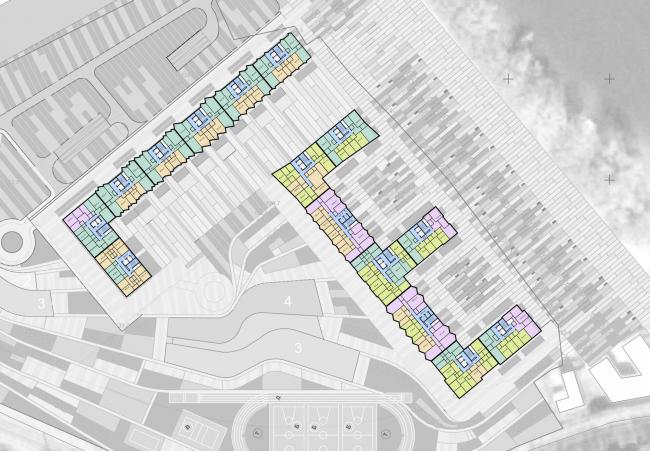 Многофункциональный жилой комплекс на территории завода «Филикровля». План типового этажа. Проект, 2015 © SPEECH