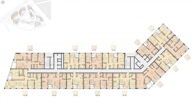 Многофункциональный жилой комплекс на территории завода «Филикровля». План типового этажа (дом 1). Проект, 2015 © Архиматика