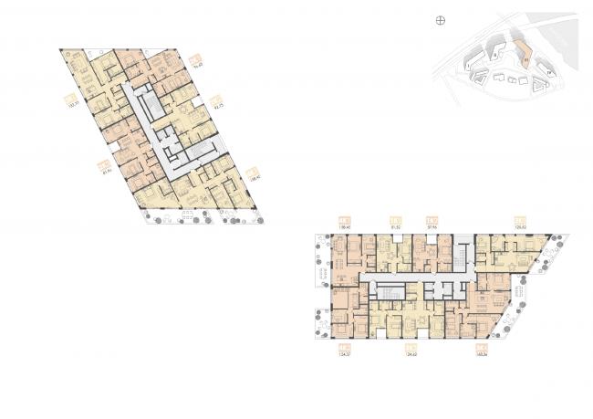 Многофункциональный жилой комплекс на территории завода «Филикровля». План типового этажа башни (дом 3). Проект, 2015 © Архиматика