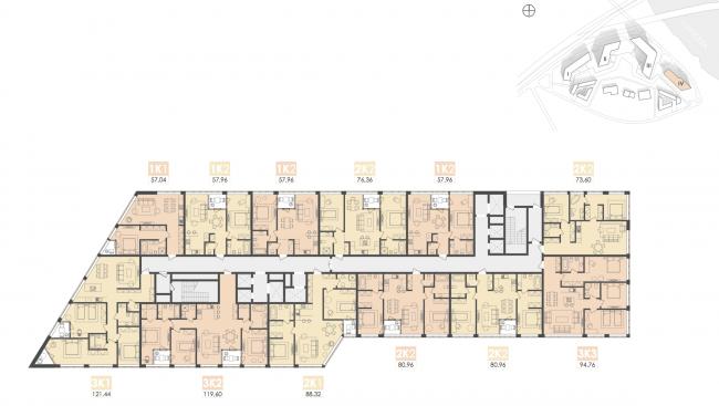 Многофункциональный жилой комплекс на территории завода «Филикровля». План типового этажа башни (дом 4). Проект, 2015 © Архиматика